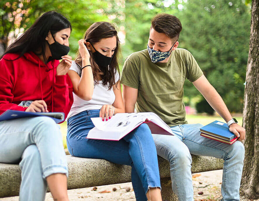 Group of masked student