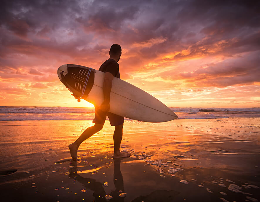 Surf and sunset